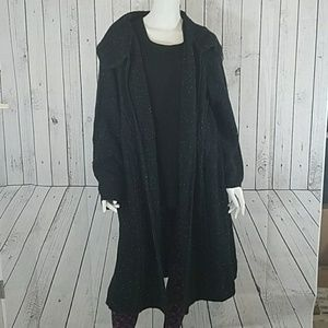 Style & Co Black Duster Cable Sweater 1X New